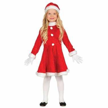 Budget kerstjurk verkleed kostuum met muts voor meisjes