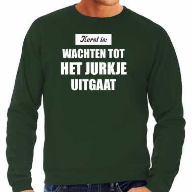 Kerst is: wachten tot het jurk uitgaat kerst sweater / kerst outfit groen voor heren