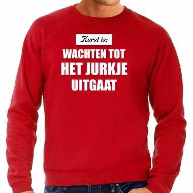 Kerst is: wachten tot het jurk uitgaat kerst sweater / kerst outfit rood voor heren